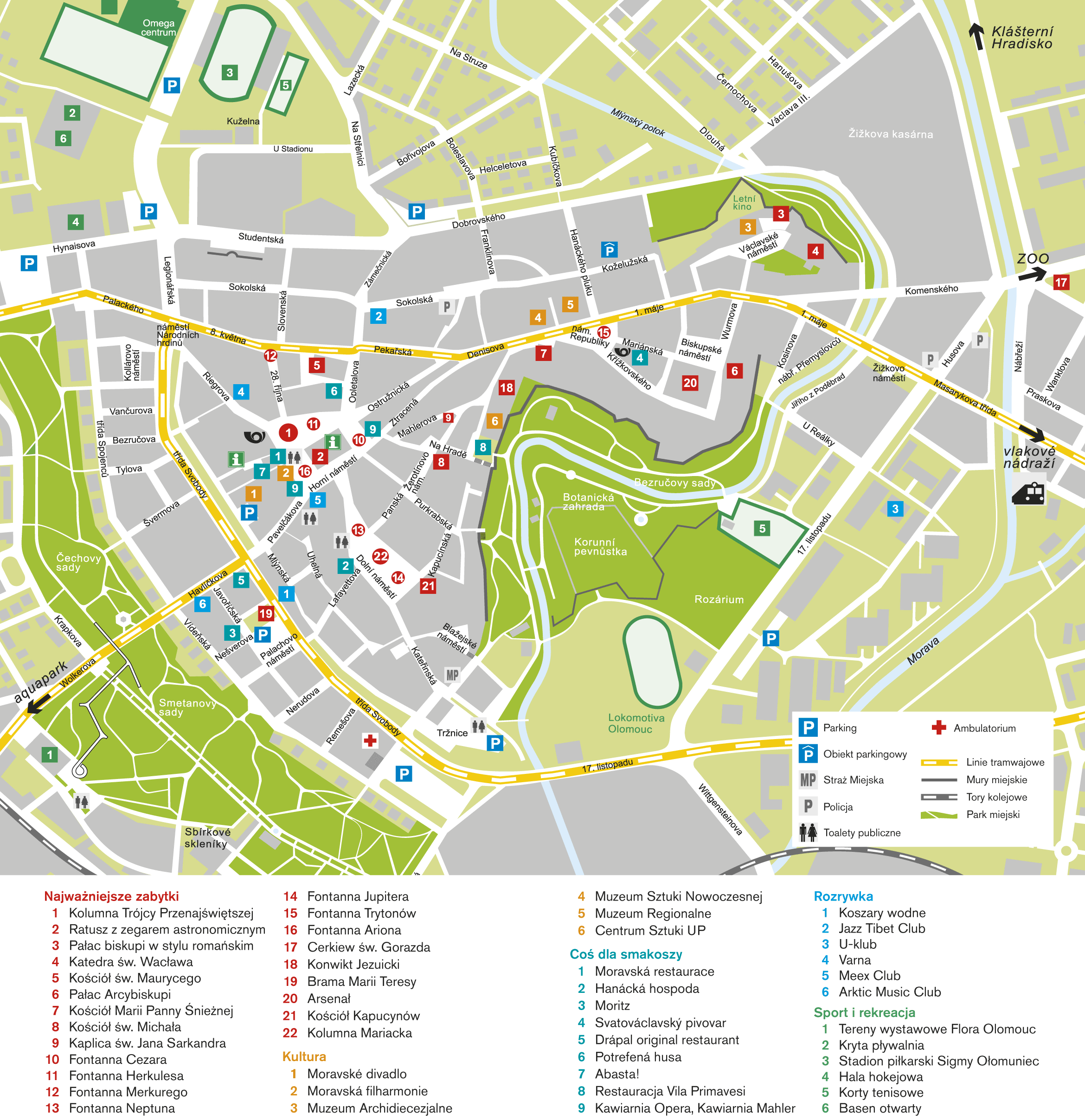 plan miasta Ołomuniec